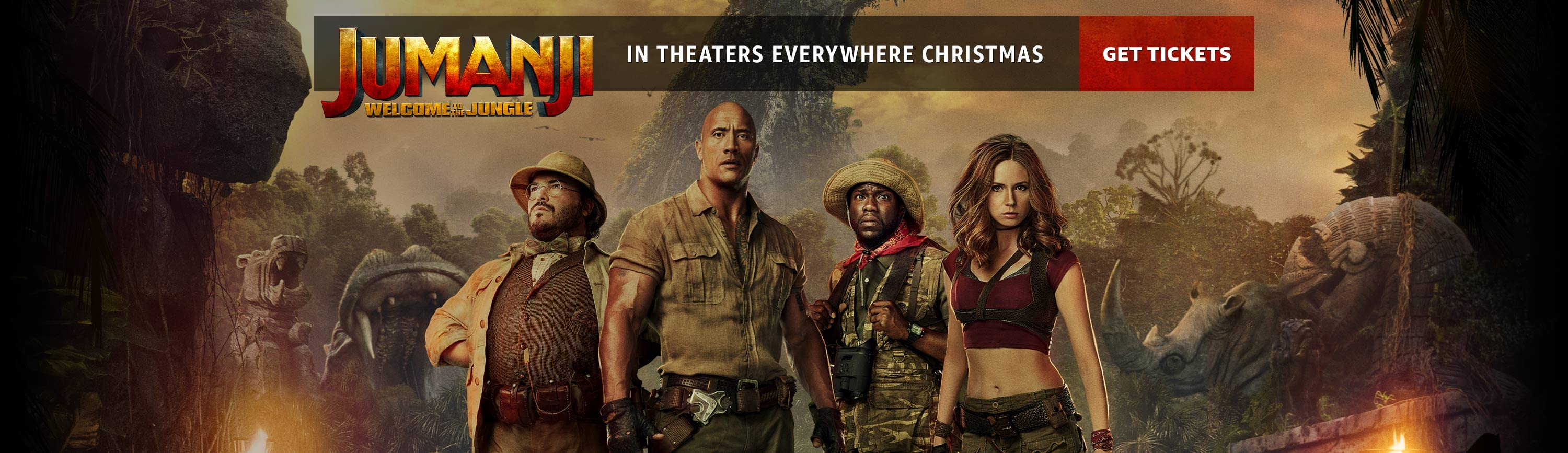 Jumanji: Welcome to the jungle, in theaters everywhere Christmas.