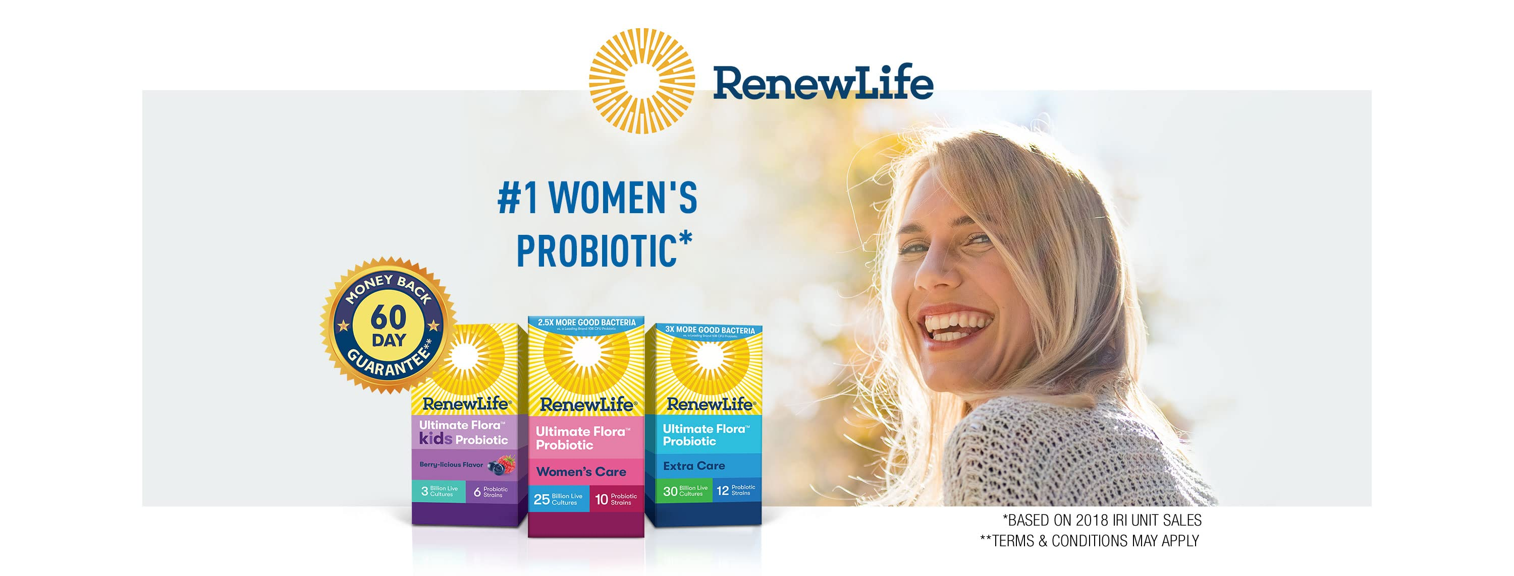 Renew Life. #1 Women's Probiotic. Based on the 2018 IRI Unit Sales and the 2018ConsumerLab.comSurvey 60 day money back guarantee. Terms and conditions may apply