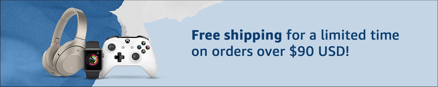 Free shipping for a limited time on orders over $90 USD!