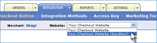 Click the Website drop-down box and make sure you select Your Checkout Website from the list.