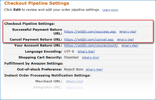 Checkout Settings Page showing a sample Success URL and a sample Cancel URL.