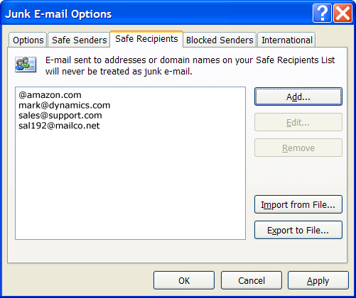 Outlook 2007 whitelist settings.