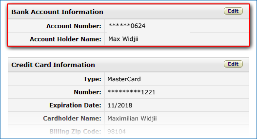 Seller Bank Account settings.