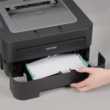 Adjustable, 250-sheet capacity paper tray