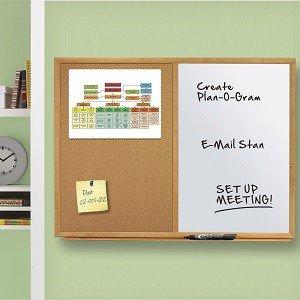 Standard Combination Whiteboard/Cork Bulletin Board, Oak Finish