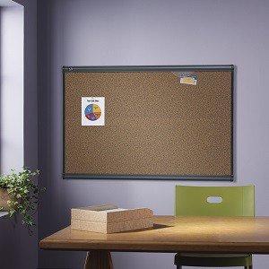 Colored Cork Bulletin Board, Graphite Finish Frame