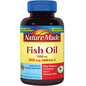 Nature made fish oil 1200 mg w omega 3 360 mg for Fish oil supplement side effects