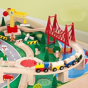 Amazon.com: KidKraft Waterfall Mountain Train Set and Table: Toys ...