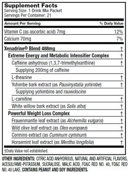 Xenadrine Drink Mix Fruit Punch Supplement Facts