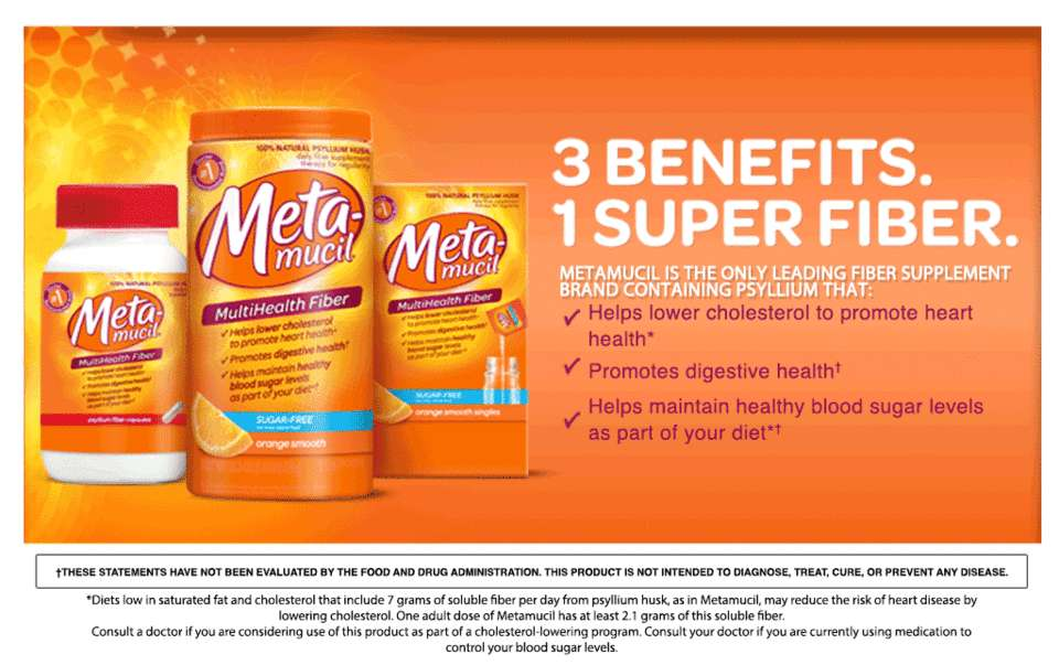 Metamucil psyllium fiber supplement by meta orange smooth sugar free