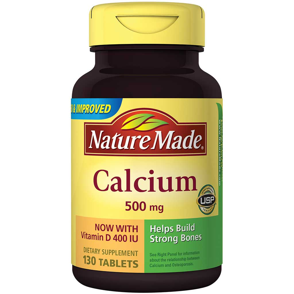 Amazon.com: Nature Made Calcium (Carbonate) 500 mg w. Vitamin D3 400 IU Tablets 130 Ct: Health