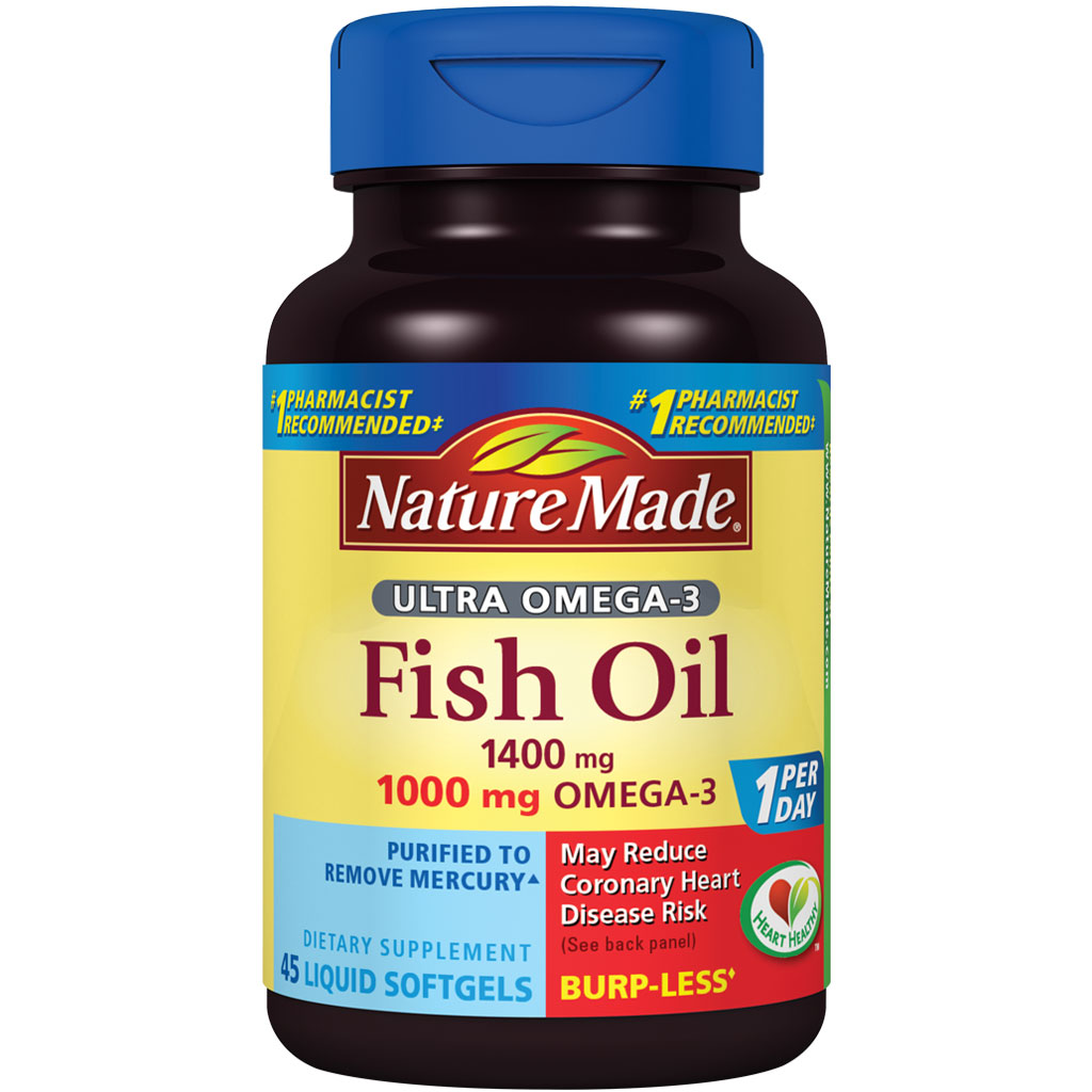 nature made ultra omega 3 fish oil 1400 mg softgels w omega 3 1000 mg 45 ct health. Black Bedroom Furniture Sets. Home Design Ideas