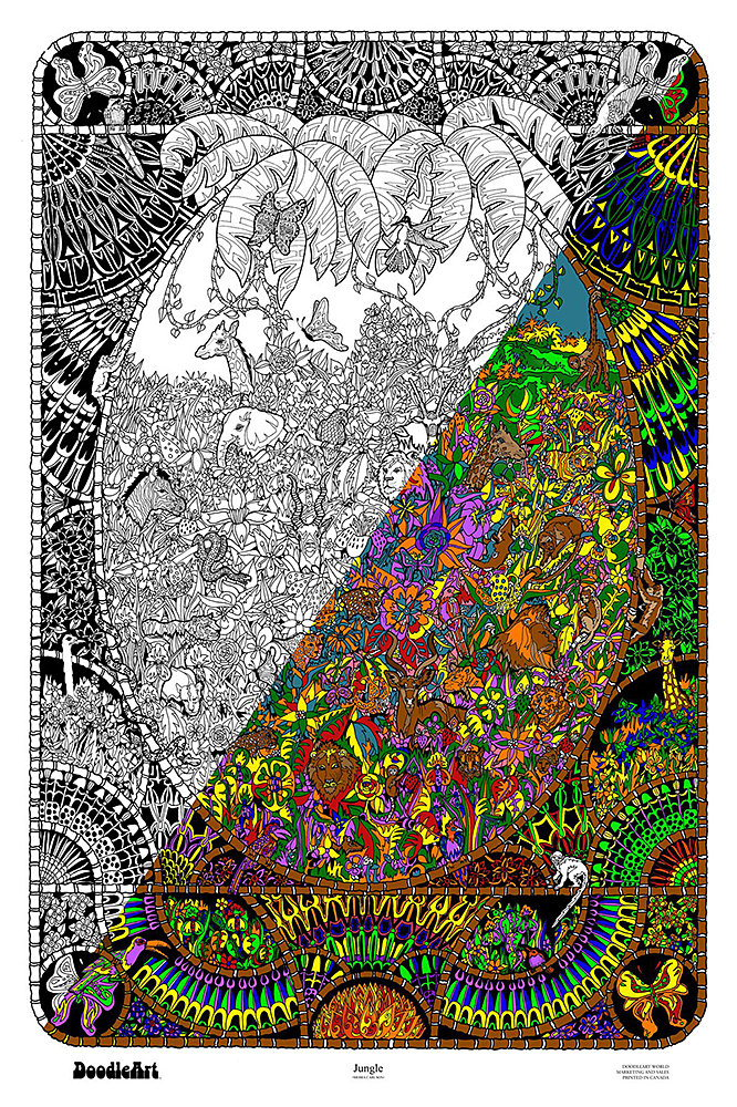 Amazon.com: The Original Doodle Art Jungle Adult Coloring Poster ...