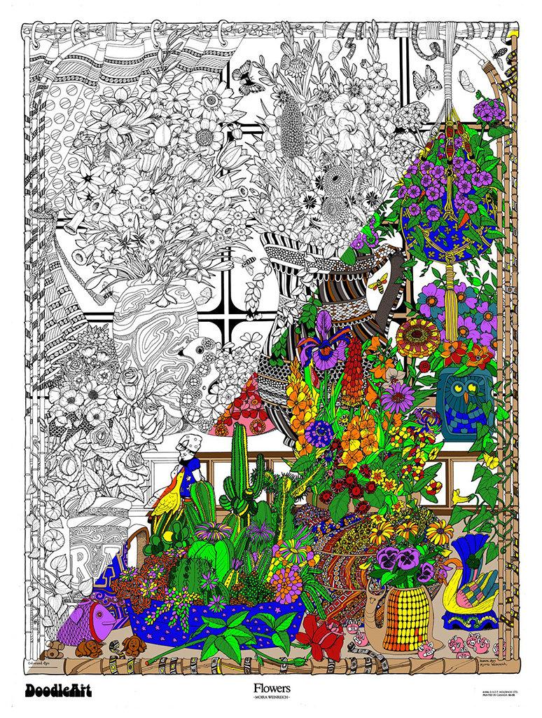 Amazon Com Mehron Celebre Makeup Kit: Amazon.com: The Original Doodle Art Flowers Adult Coloring