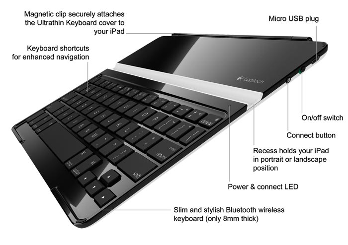 Amazon Com Logitech Ultrathin Keyboard Cover Black For