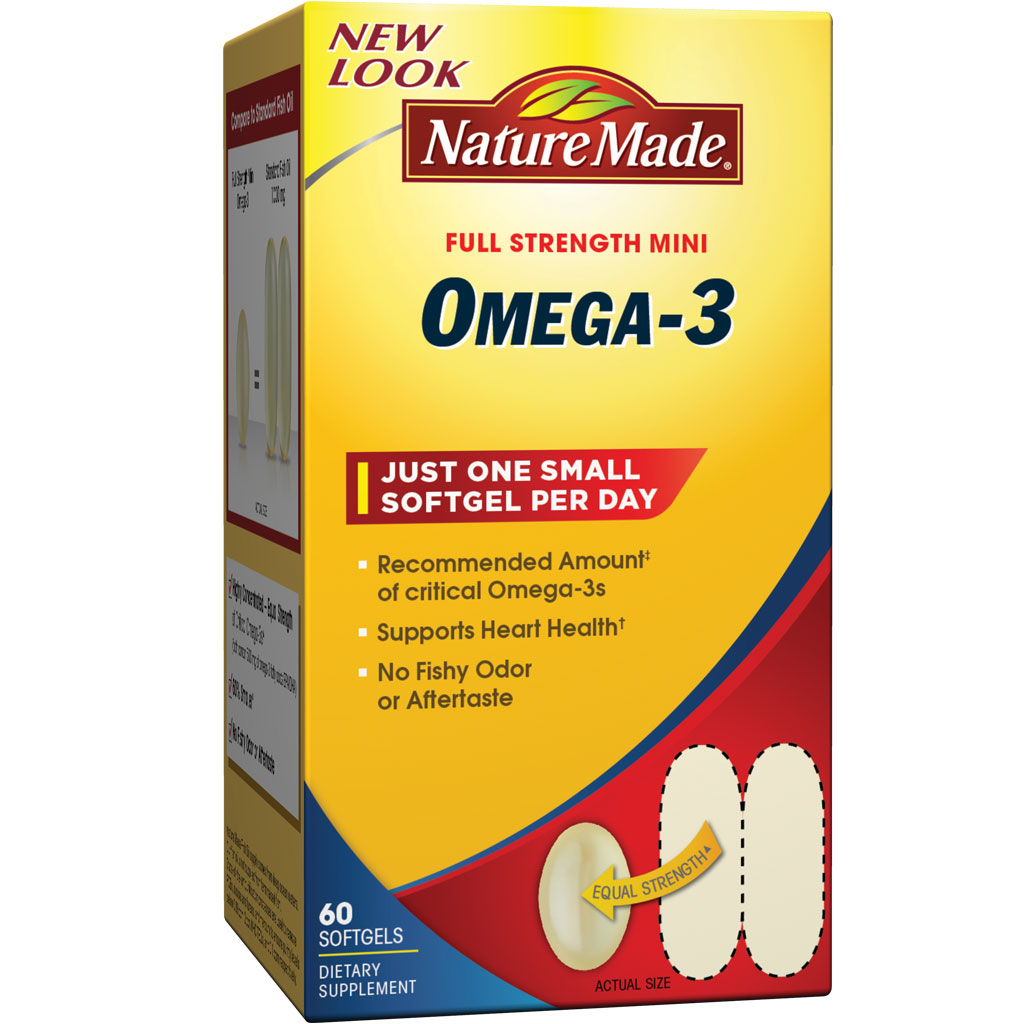 Amazon.com: Nature Made Super Omega-3 Fish Oil Full Strength Softgels, Mini, 60 Count: Health ...