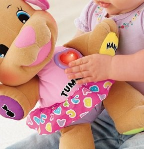 Paws, tummy, ear, and light-up heart respond to baby's touch.