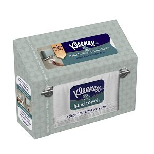 Kleenex Hand Towels dispenser offers a more hygienic hand drying solution versus traditional cloth bathroom hand towels