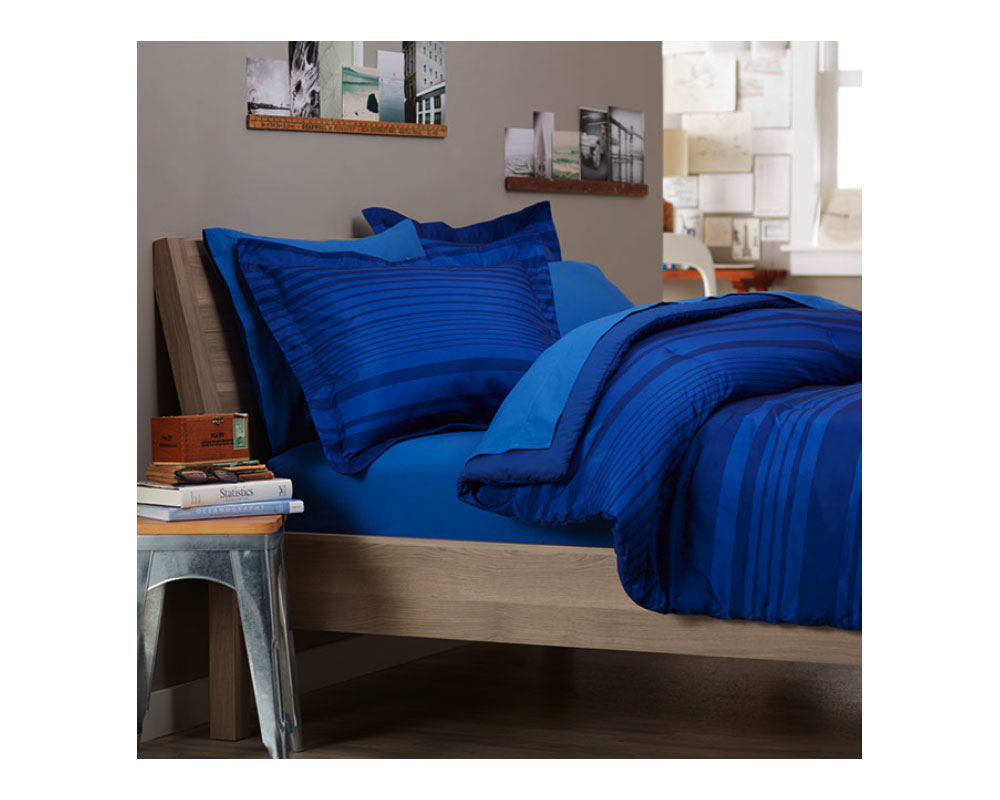 Pinzon 5 Piece Bed In A Bag Twin Extra Long Royal Blue Calvin Stripe Home Kitchen