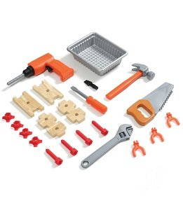 The 22-piece accessory set includes an electronic drill, hammer, saw, wrench, screwdriver, and more.