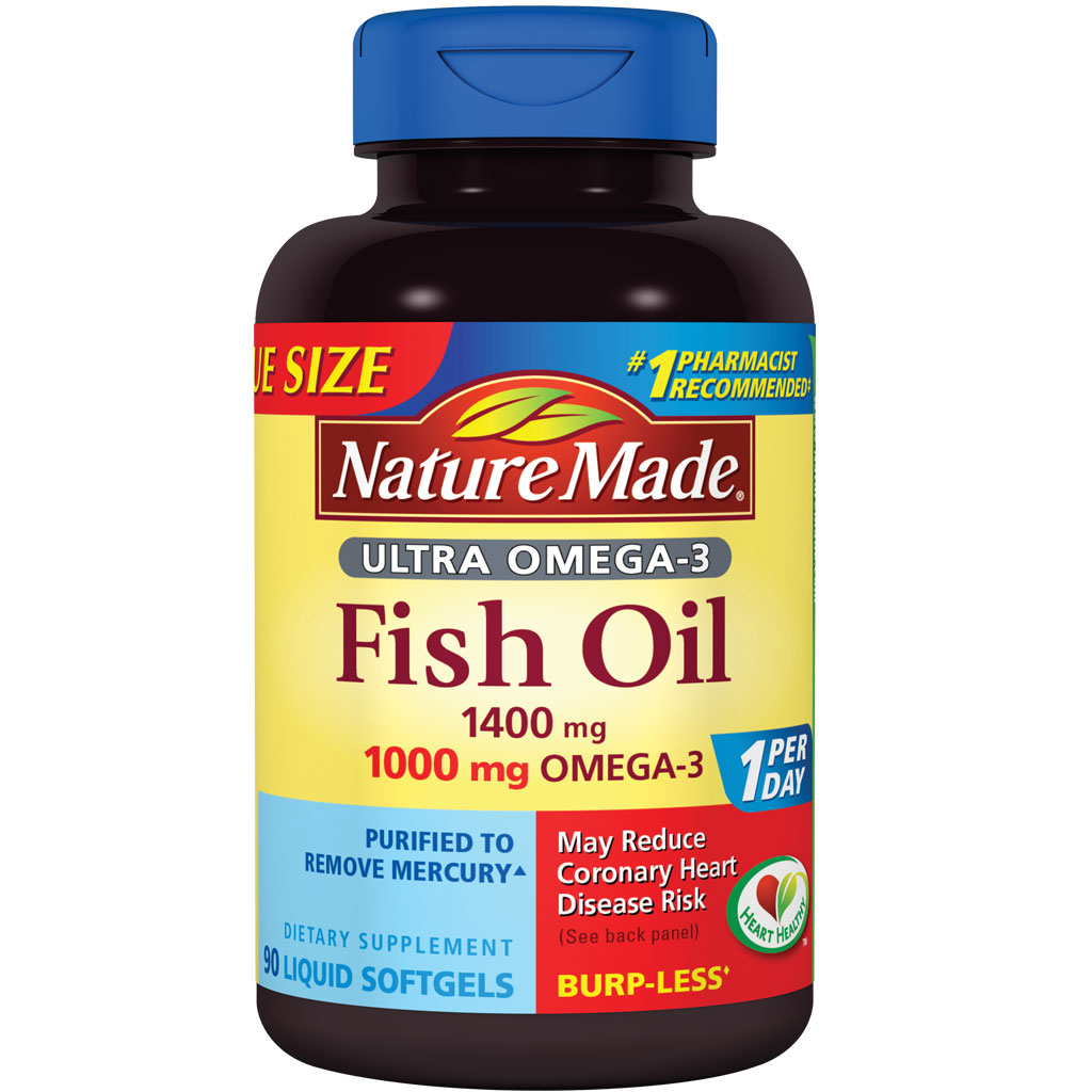 Amazon.com: Nature Made Ultra Omega-3 Fish Oil 1400 mg Softgels w. Omega-3 1000 mg Value Size 90 ...