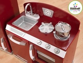 With the Cranberry Retro Play Kitchen, kids can cook up feasts for the whole family.