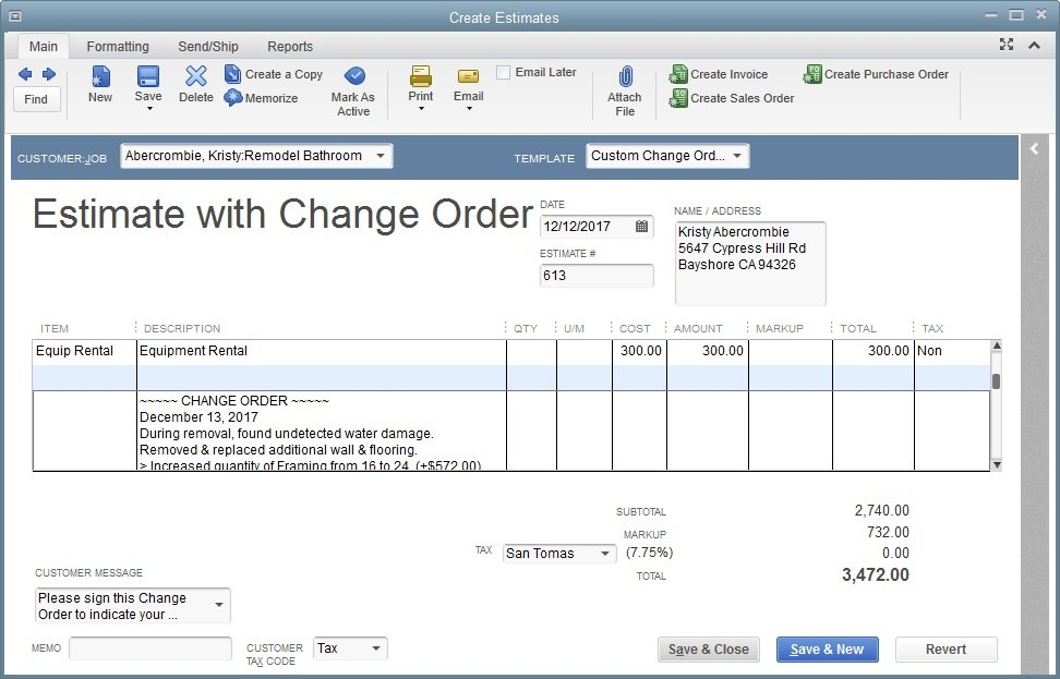 Quickbooks premier contractor 2014 old for Quickbooks sales order template