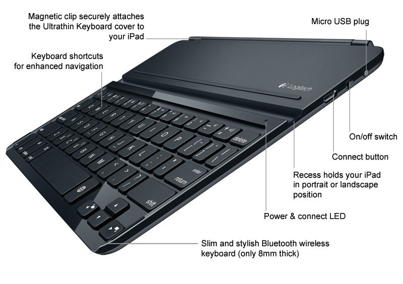 sports shoes 6128d 7c481 Details about Logitech Ultrathin Clip-on Keyboard Cover for iPad Air, Space  Gray