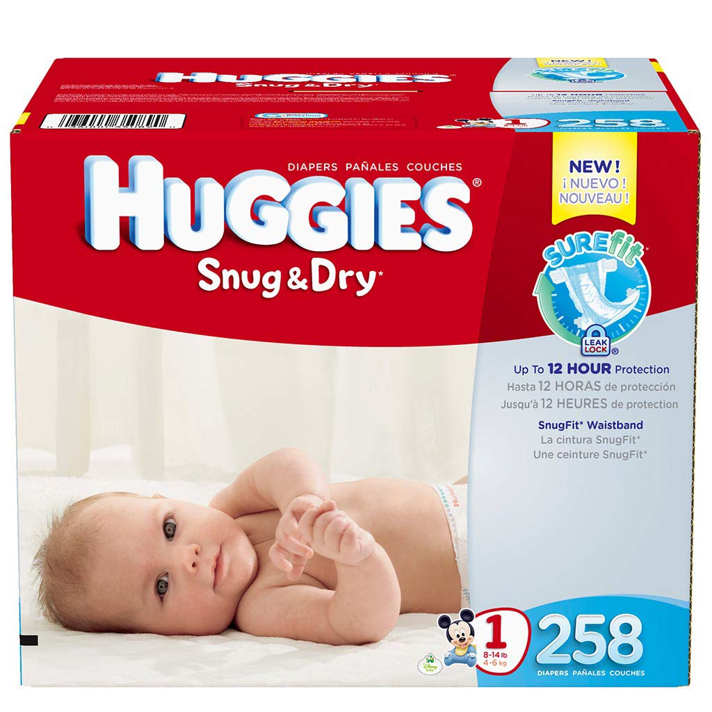 Amazon.com: Huggies Snug & Dry Diapers, Size 1, 258 Count: Health ...