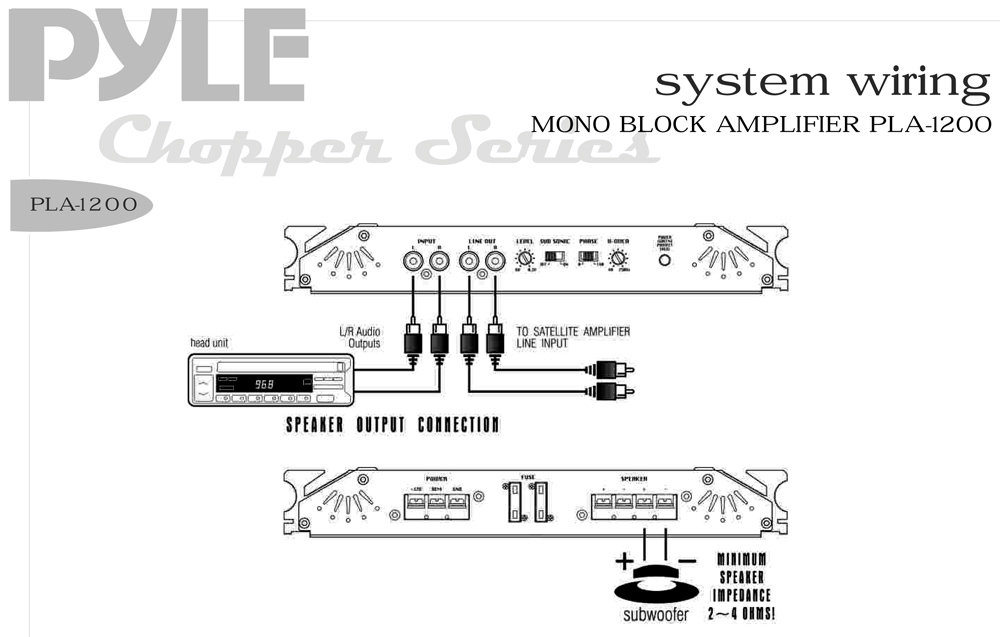 mono car amp wiring diagram amazon.com: pyle pla1200 1900 watts mono block mosfet ... 2 channel car amp wiring diagram