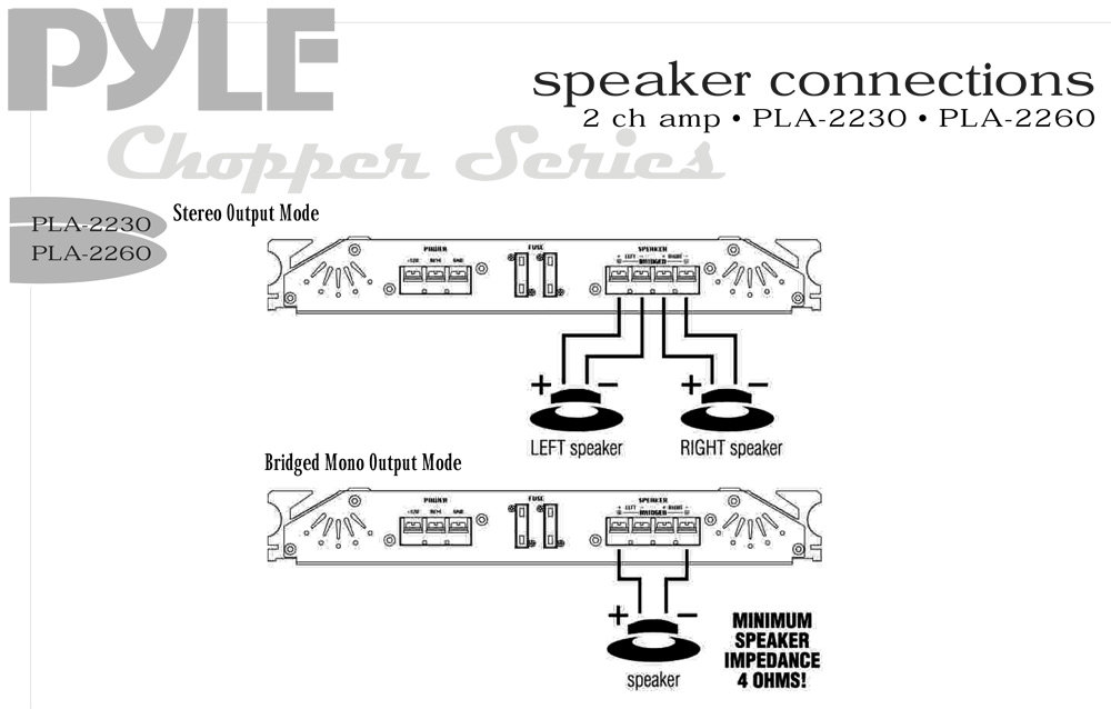 amazon com pyle pla2230 3000 watts 2 channel high power pyle amp wiring diagram for two speakers Boss Marine Stereo Wiring Diagram