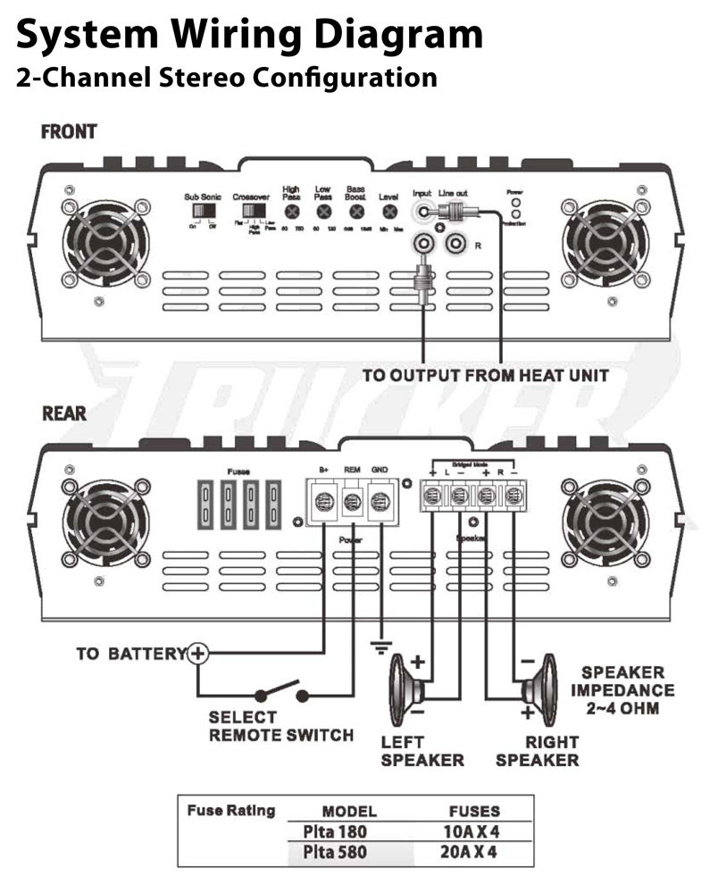 amazon com pyle plta580 2 channel 2,000 watt 24 volt truck bus rv audio amplifier parts system wiring diagram view larger
