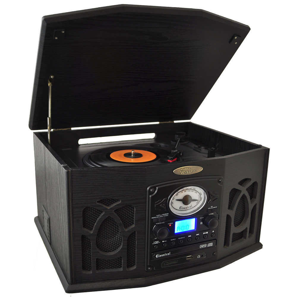 .com: Pyle Home PTCDS7UIB Retro Vintage Turntable with CD/MP3/Casette