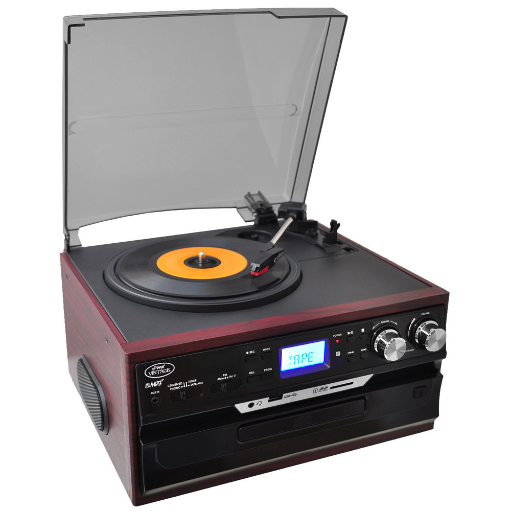 pyle pttcds7u classic vintage turntable with am fm radio cassette cd usb sd and aux. Black Bedroom Furniture Sets. Home Design Ideas