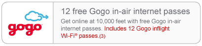 Free inflight Internet | Up in the sky, not a problem. Get online at 10,000 feet with free Gogo in-air Internet passes. Includes 12 Gogo inflight Wi-Fi passes.(3)