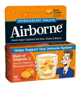 Airborne Effervescent Tablets - Zesty Orange Triple Pack 72/(3x10) ct. (Tube) Product Shot