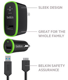 Belkin Charger Kit with USB 3.0 Micro-B Cable (10 Watt/2.1 Amp) Product Shot