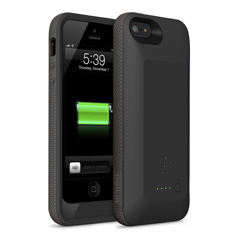 belkin grip power battery case for iphone 5 black cell phones accessories. Black Bedroom Furniture Sets. Home Design Ideas