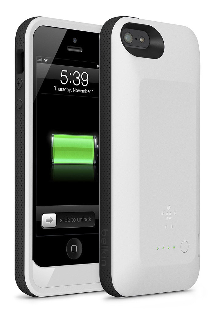 cheap for discount aa7b9 a6875 Belkin F8W292TTC01 Grip Power Battery Case for iPhone 5 (White)