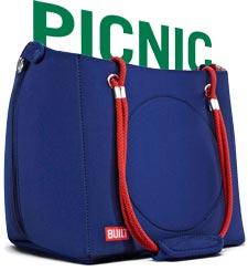 BUILT NY Convertible Insulated Picnic Basket Tote Bag, Navy 3