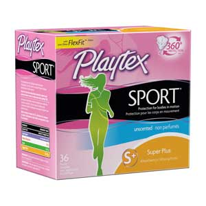 Playtex Sport Tampons, Unscented, Super Plus, 36-Count Product Shot
