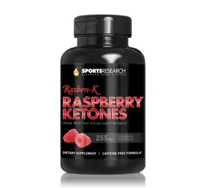 Raspberry Ketones with clinically studied Razberi-k, Double Strength Natural Weight loss aid. 255 milligrams, 90 Liquid Softgels. 3 month supply Product Shot