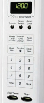 B0009KMYGY controls  Panasonic NN H765WF Genius 1.6 cuft 1250 Watt Sensor Microwave with Inverter Technology, White