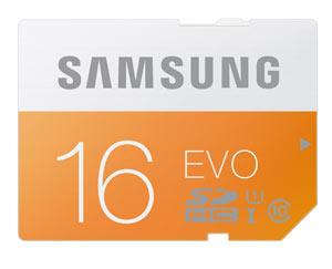Samsung EVO 16GB SD Memory Card Product Shot