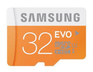 Samsung EVO 32GB microSD Memory Card with USB Reader Product Shot