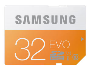 Samsung EVO 32GB SD Memory Card Product Shot