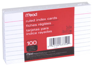 Amazon.com : Mead Lined Index Cards, Note Cards, Ruled, 100 Count, 3 ...