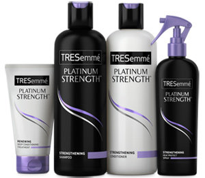 TRESemmé Platinum Strength Shampoo, TRESemmé Platinum Strength Conditioner, TRESemmé Platinum Strength Renewing Deep Conditioning Treatment, TRESemmé Platinum Strength Heat Protect Spray