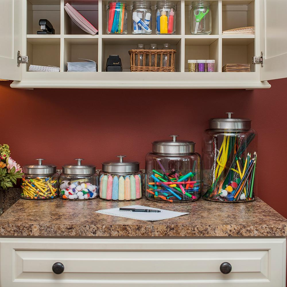 Space in the kitchen by adding shelves and glass canisters with seals - View Larger