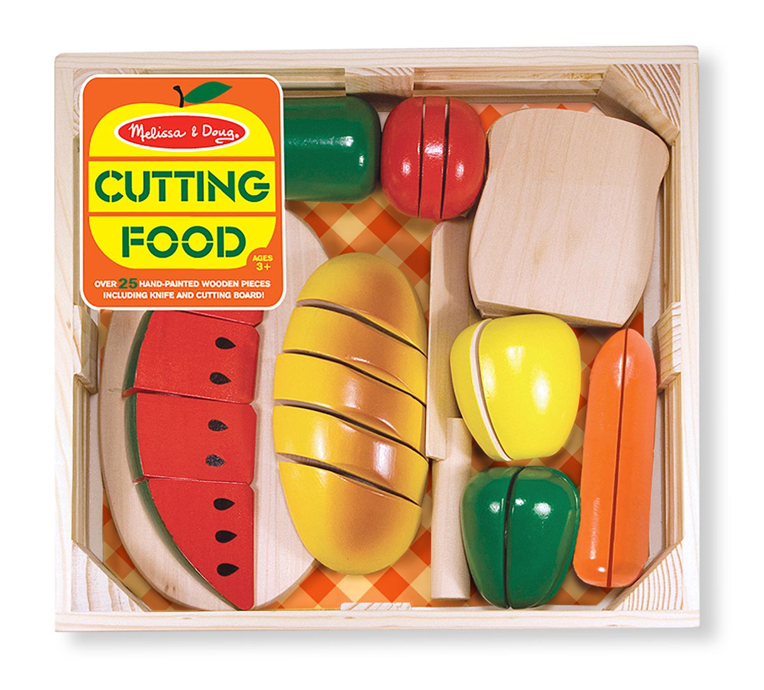 Melissa Doug Cutting Food Play Food Set With 25 Hand Painted Wooden Pieces